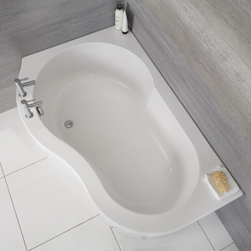 Vasca Da Bagno Angolare Versione Sinistra In Acrilico Completa Di Pannello 1500mm X 1000mm Ashbury