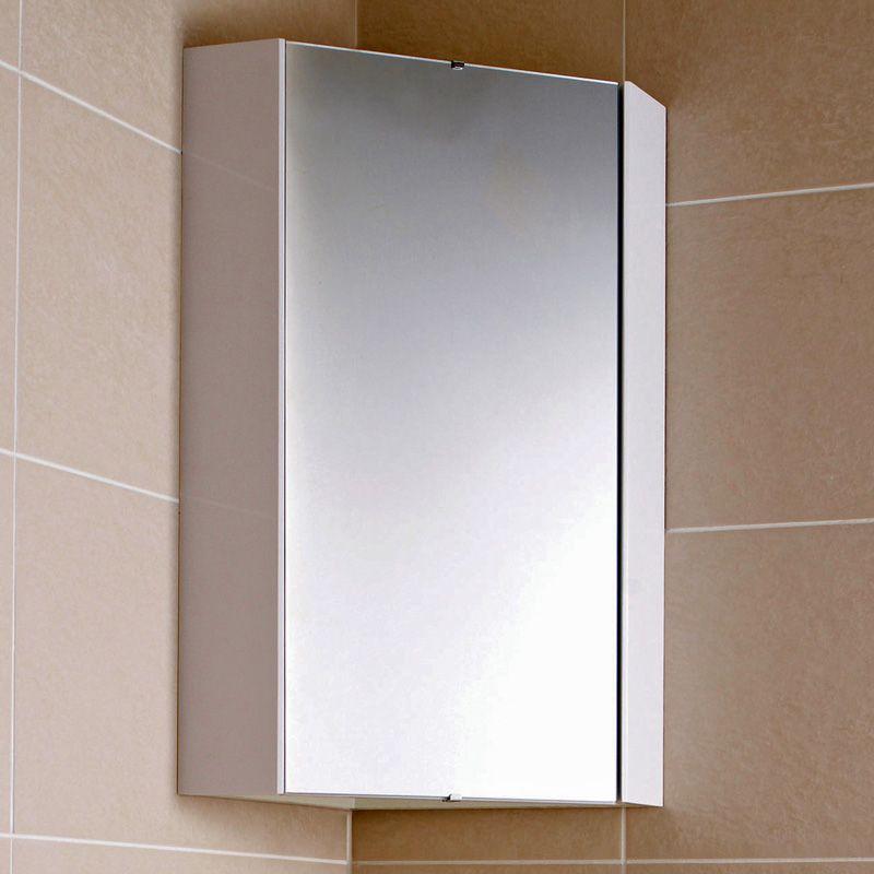 Specchio Bagno Bianco.Specchio Contenitore Bagno Bianco Ad Angolo