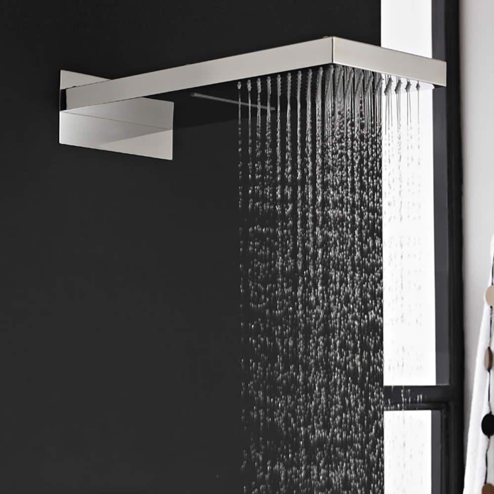 Elegant Soffione Doccia Rettangolare Con Funzione A Cascata E Pioggia 500mm X 200mm  E Braccio Integrato