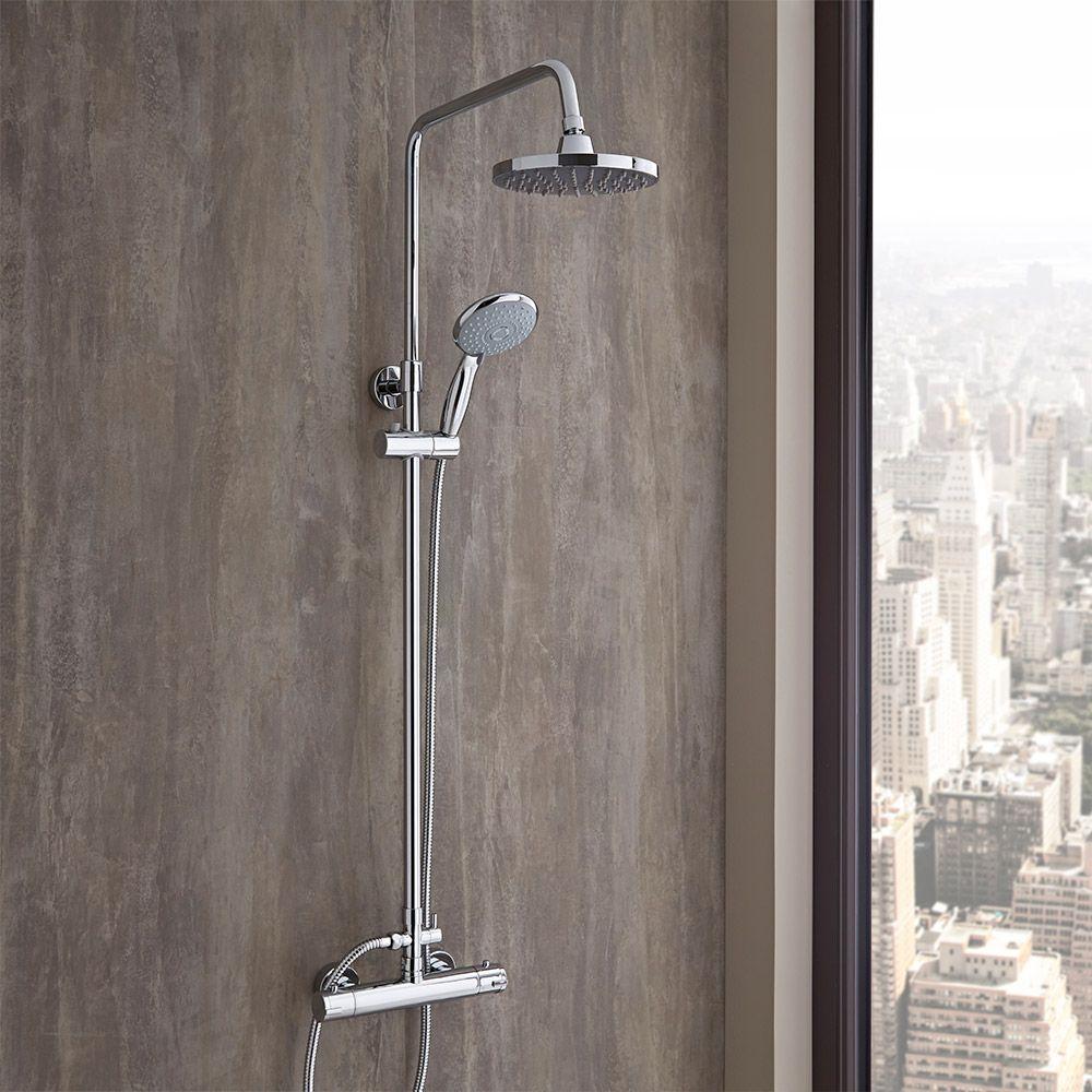 Colonna doccia completa regolabile con miscelatore for Altezza miscelatore doccia