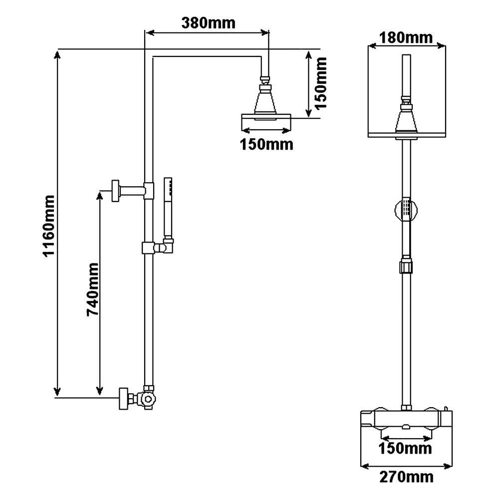 Colonna doccia termostatica completa con miscelatore for Altezza miscelatore doccia