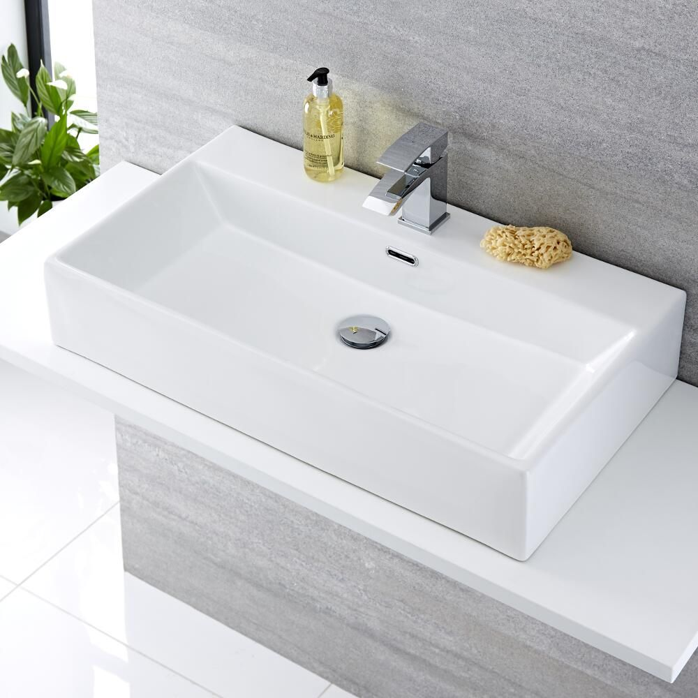 Lavabo bagno da appoggio in ceramica rettangolare 750x420mm sandford - Miscelatore bagno moderno ...