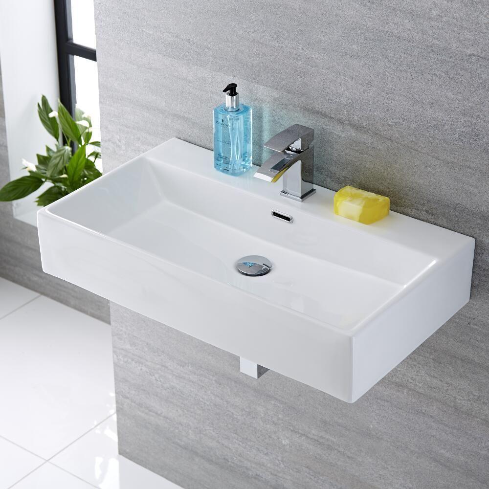 Lavabo bagno sospeso in ceramica rettangolare 750x420mm - Bagno rettangolare ...