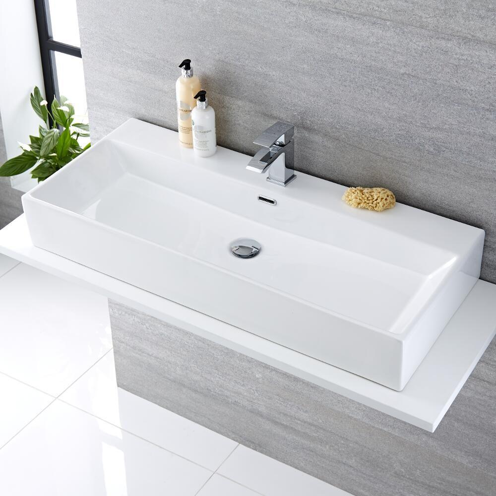 Lavabo Bagno da Appoggio Sospeso Rettangolare in Ceramica 1000x420mm ...