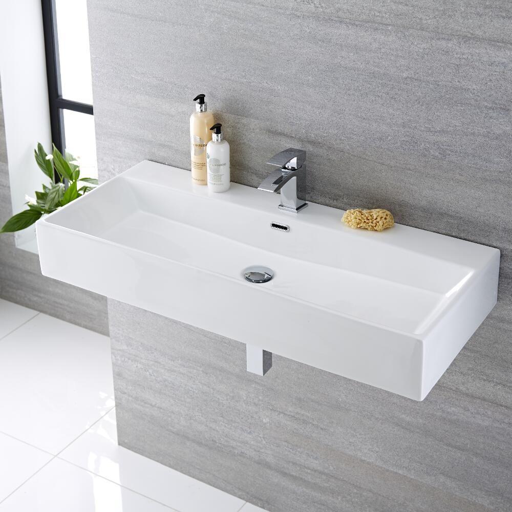 Lavabo bagno sospeso rettangolare in ceramica 1000x420mm for Prezzi lavabo bagno