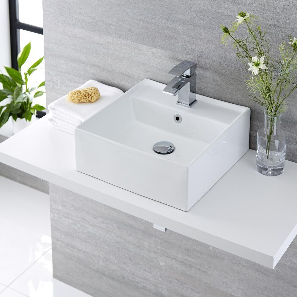 Lavabo Bagno Sospeso Quadrato in Ceramica 400x40mm - Halwell