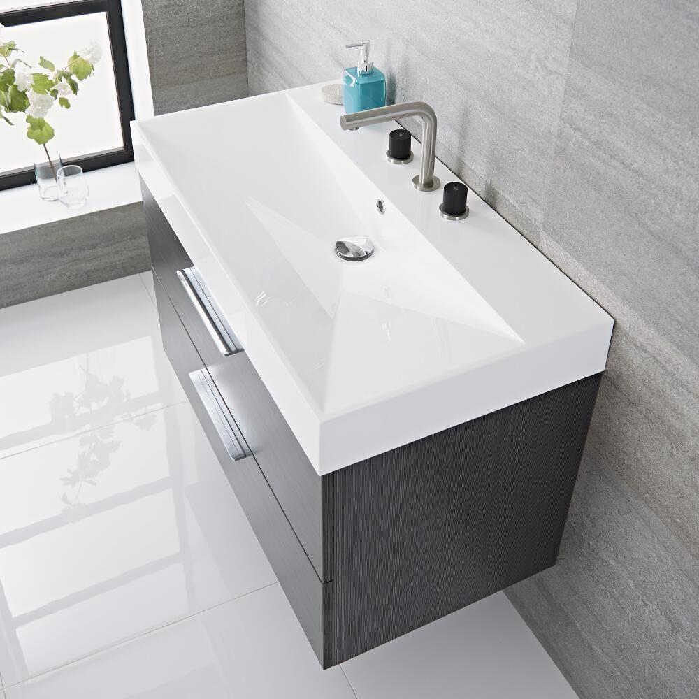 Mobile bagno sospeso colore grigio 900x480x600mm con for Bagno y bagno gr