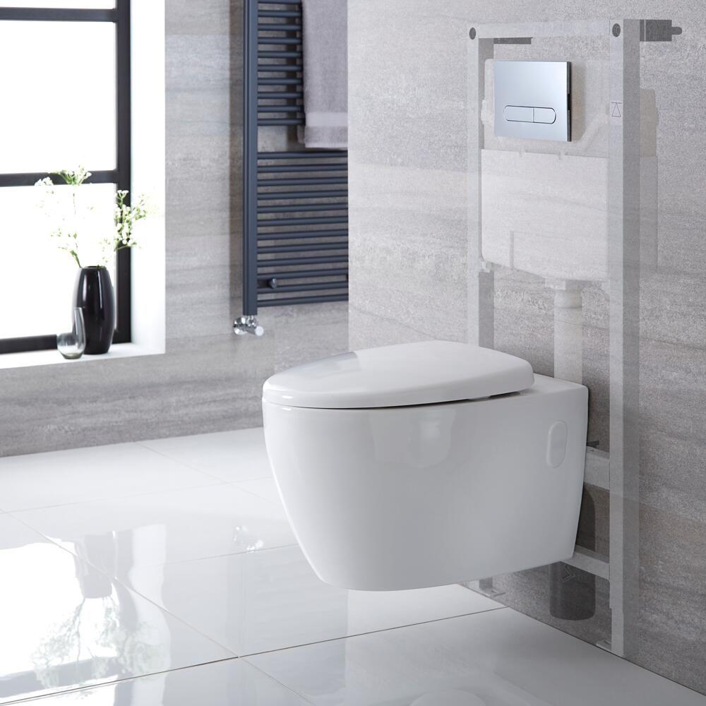 Sanitario Bagno WC Ovale Sospeso 610x420x480mm con Coprivaso, Telaio ...