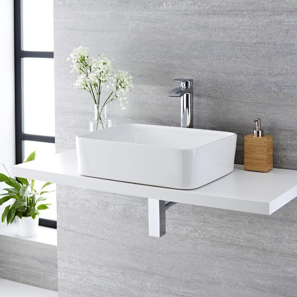 Lavabo bagno da appoggio rettangolare in ceramica 480x370mm con rubinetto miscelatore alto alswear - Rubinetto bagno alto ...