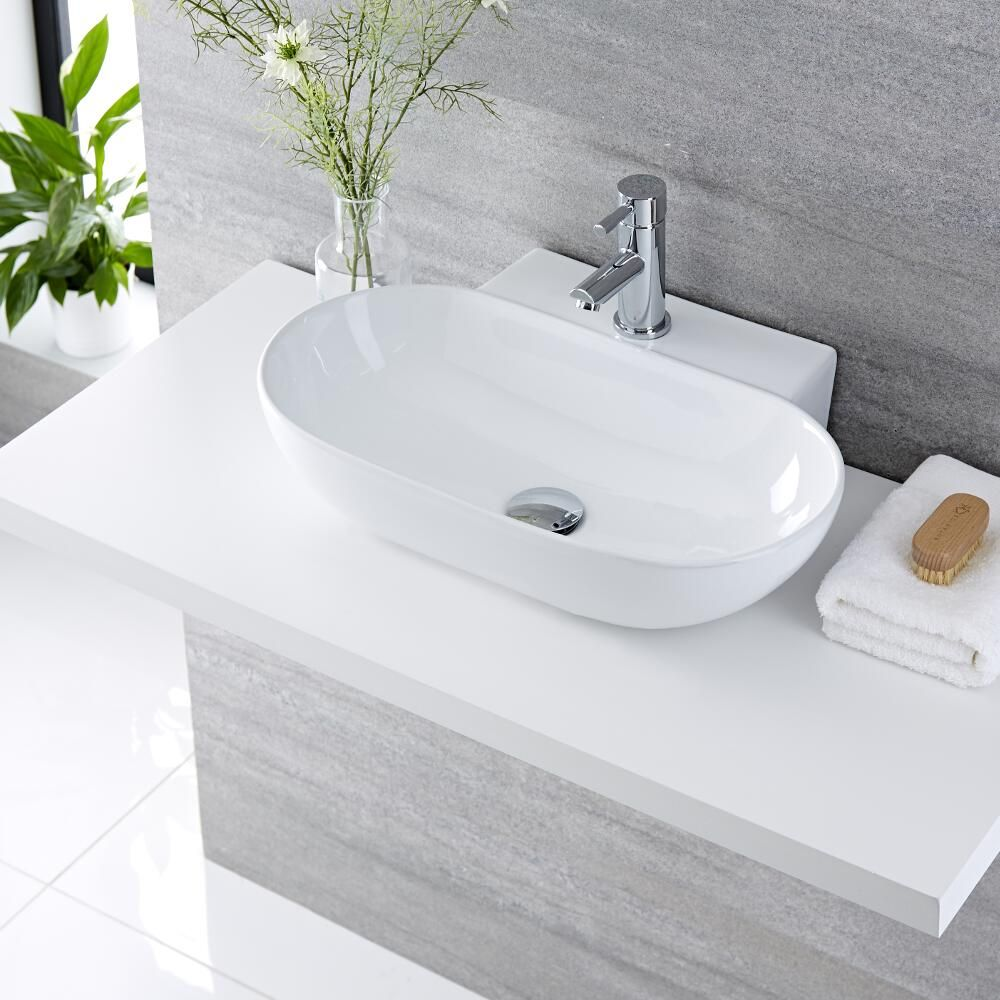 Lavabo bagno da appoggio in ceramica ovale 555x395mm otterton - Lavabo angolare bagno ...
