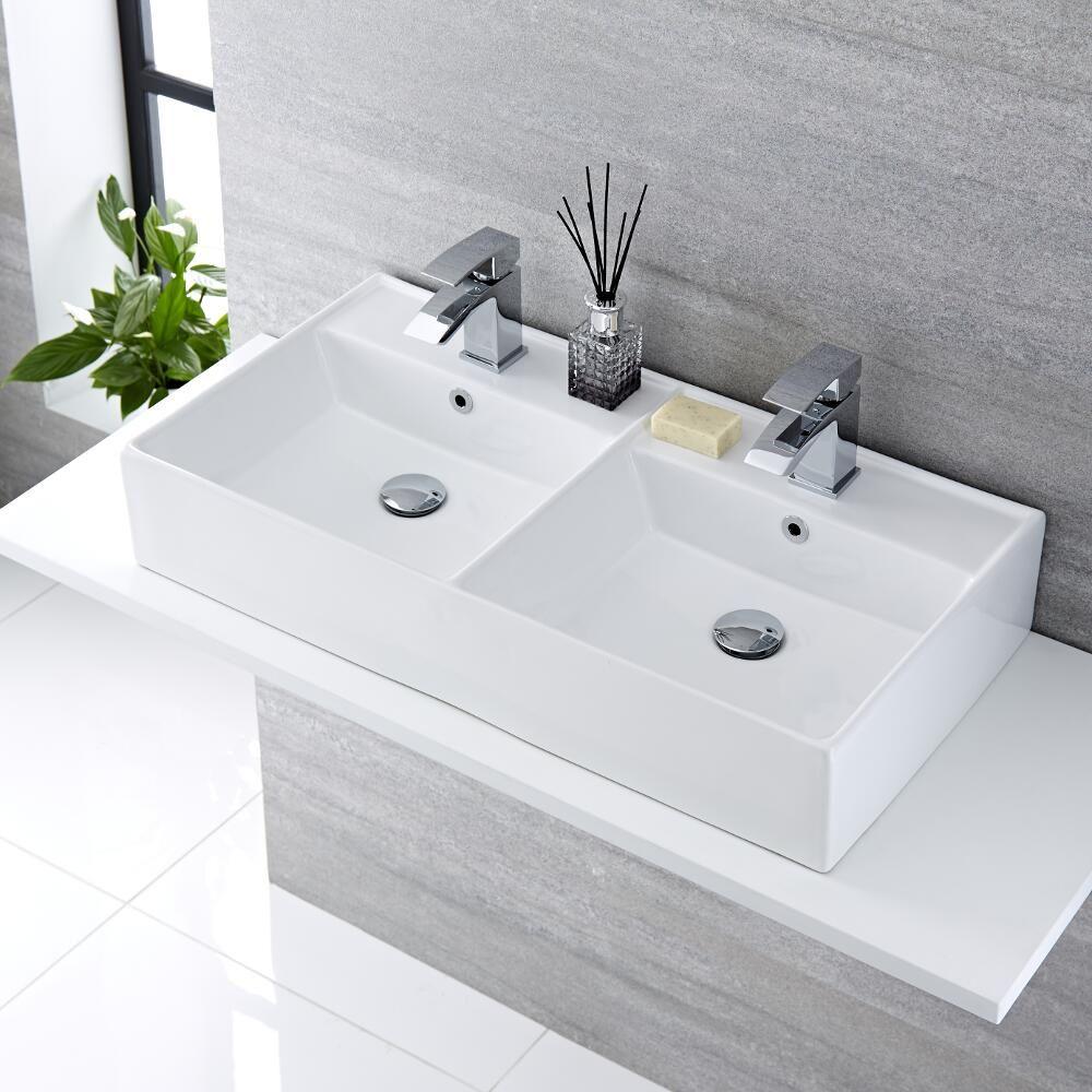 Lavabo bagno da appoggio rettangolare doppio in ceramica 820x420mm halwell - Doppio lavabo da appoggio bagno ...