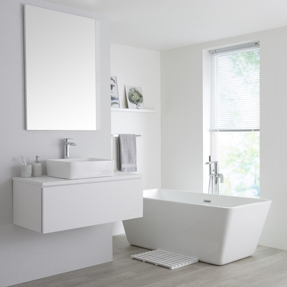 Mobile Bagno Murale 1000mm Colore Bianco Opaco con Lavabo da ...