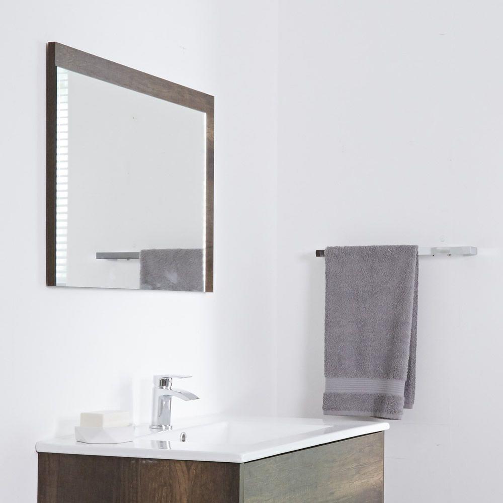 Specchio Bagno Murale 500x700mm Colore Rovere Scuro con Design ...