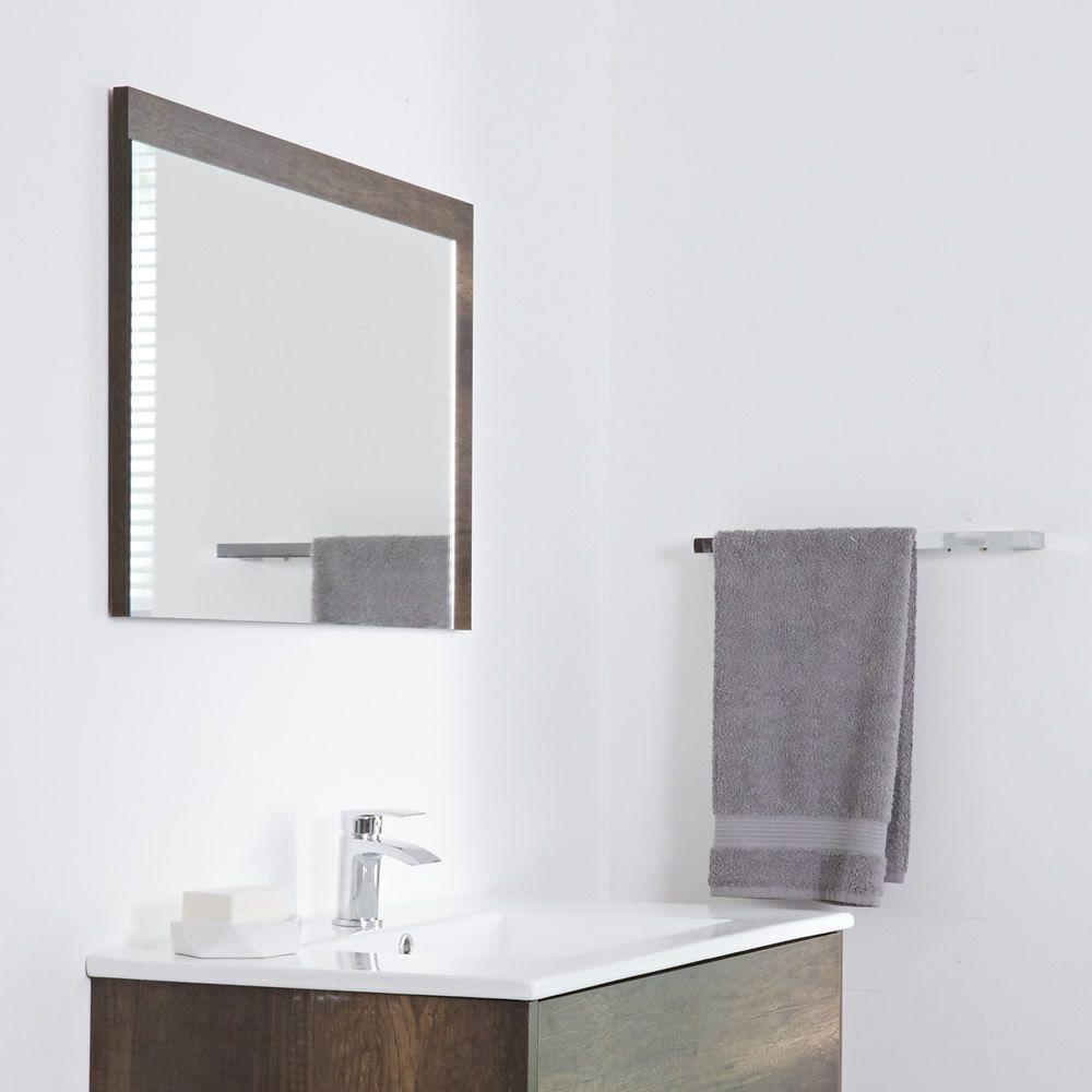 Specchio Bagno Murale 750x1000mm Colore Rovere Scuro Con Design