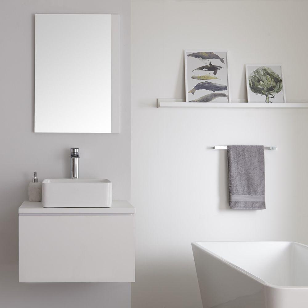 Mobile Bagno 600mm Colore Bianco Opaco Con Lavabo Da Appoggio