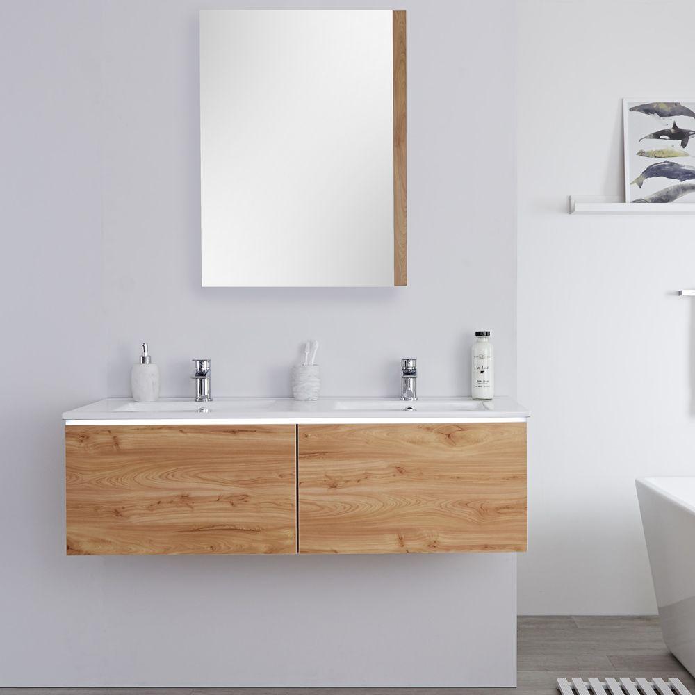 Mobile bagno murale 1200mm con 2 lavabi integrati colore rovere dorato newington - Mobile bagno con 2 lavabi ...
