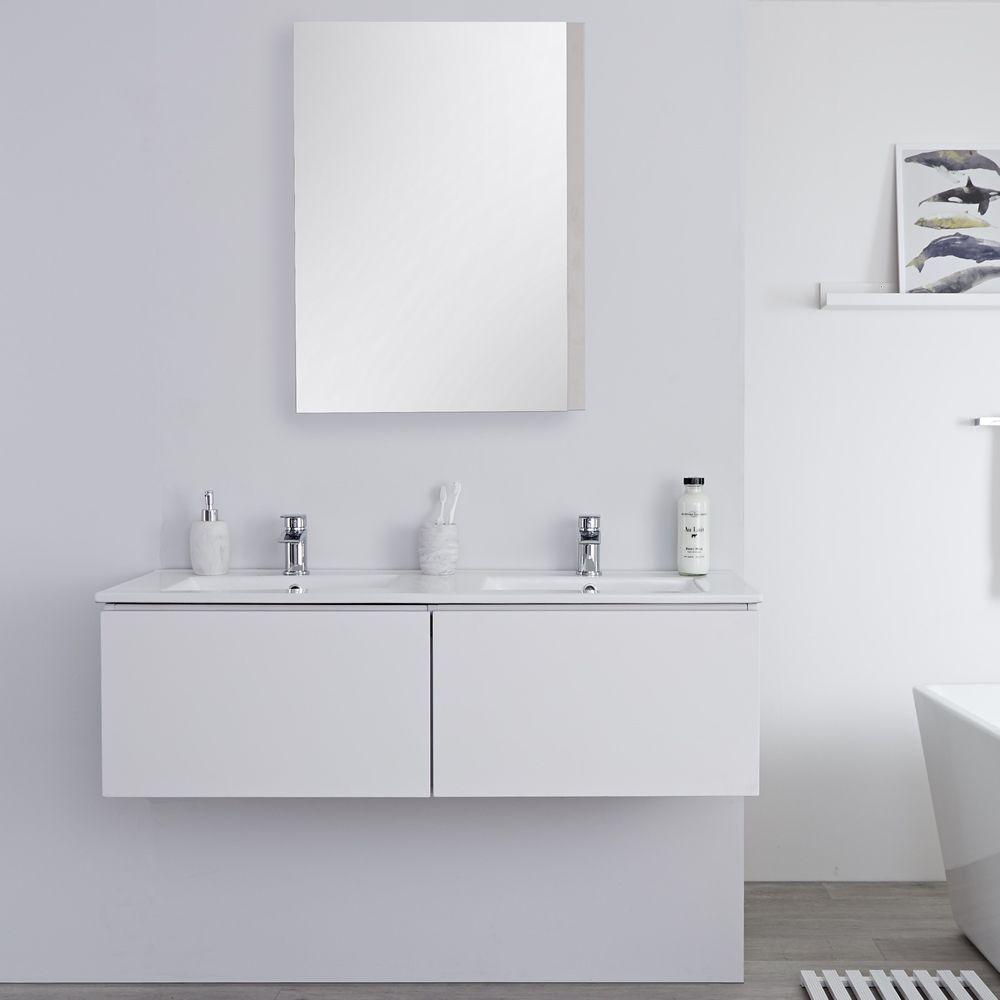 Mobile Bagno Murale 1200mm con 2 Lavabi Integrati Colore Bianco ...