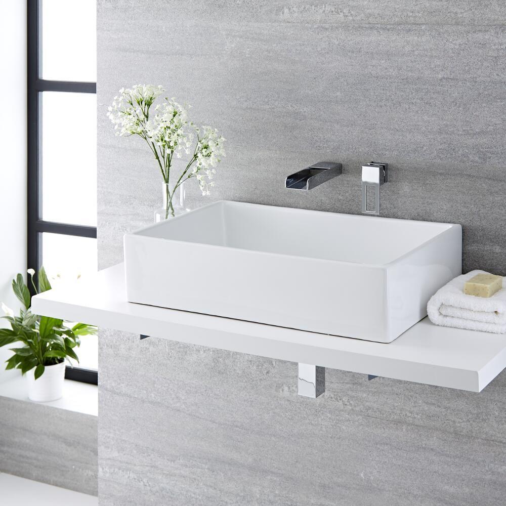 Lavabo bagno da appoggio quadrato in ceramica 360x360mm con rubinetto a cascata haldon - Rubinetto bagno cascata ...