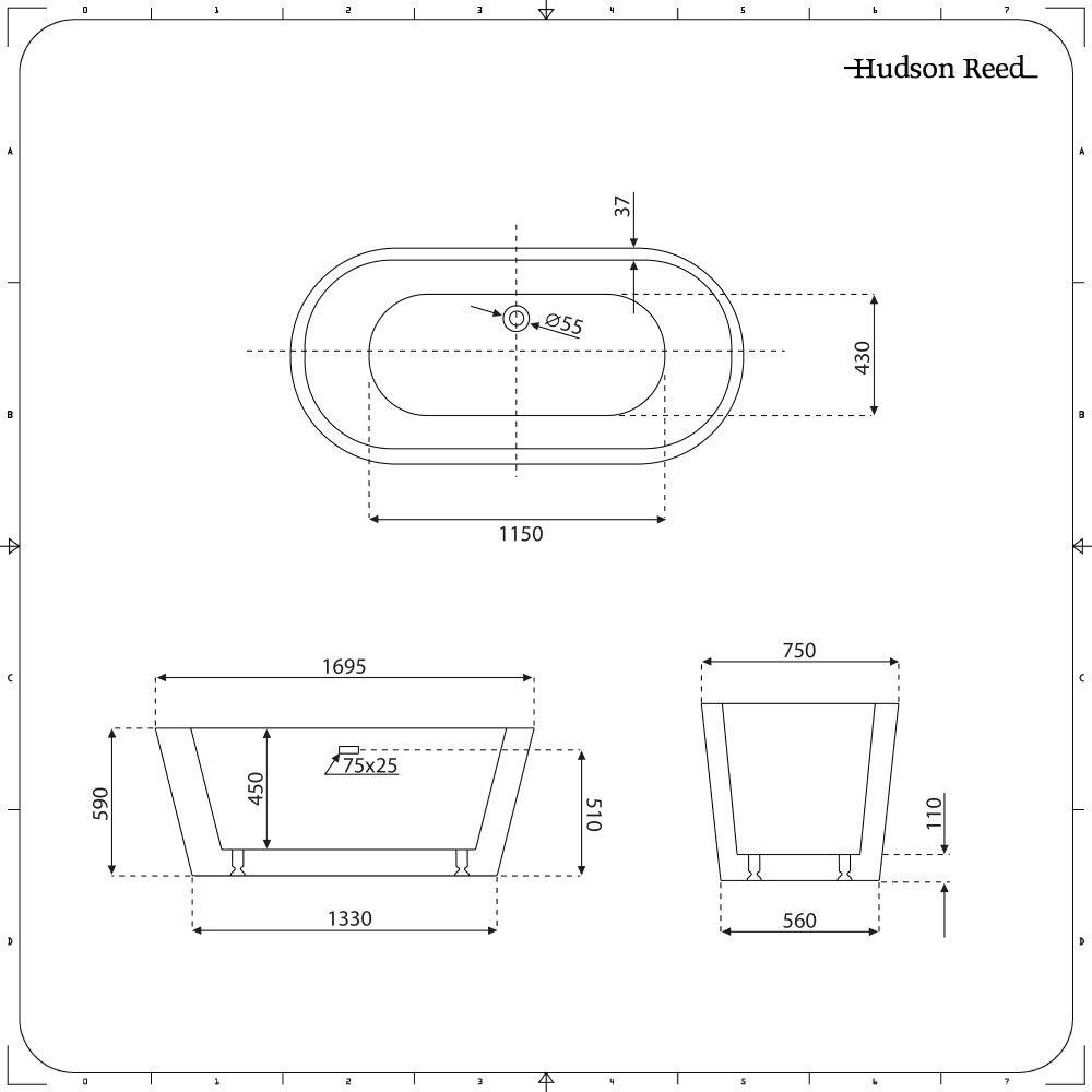 Sezione Vasca Da Bagno.Vasca Da Bagno Centro Stanza Moderna 1695mm X 750mm Colore Grigio Pietra Opaco Witton