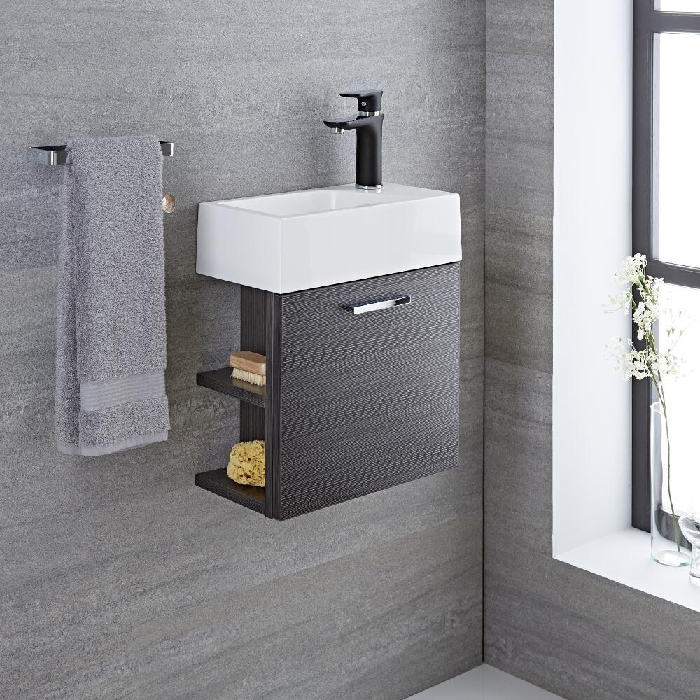 Mobile bagno sospeso colore grigio 400x220x465mm con for Bagno colore