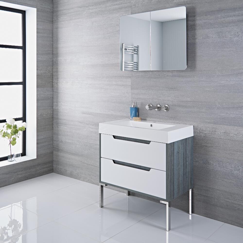 Mobile Bagno Colore Bianco Laccato 800x600mm con Lavabo Integrato ...