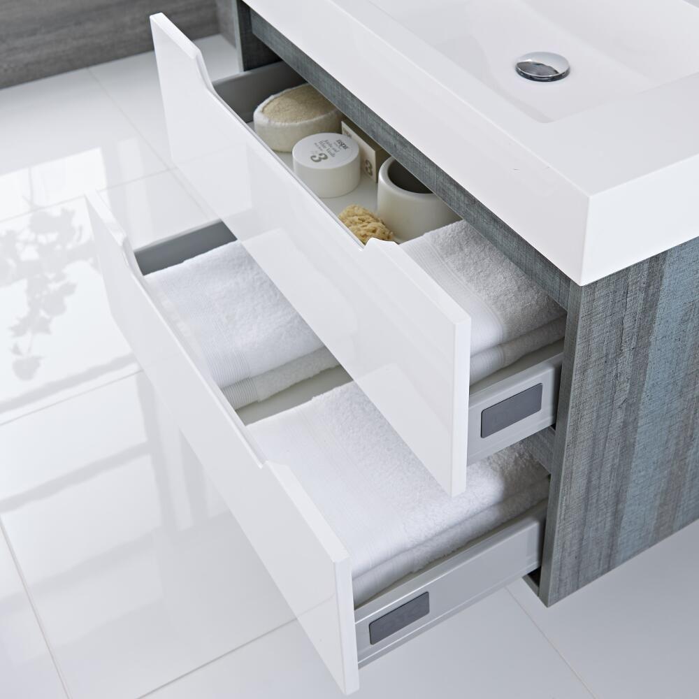 Mobile Bagno Doppio Colore Bianco Laccato 1200x500x600mm con Lavabo ...