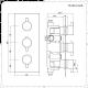 Miscelatore Doccia Termostatico ad Incasso Nero Triplo a 2 Vie Completo di Soffione Doccia Circolare Quadrato 300x300mm e Doccetta - Nox