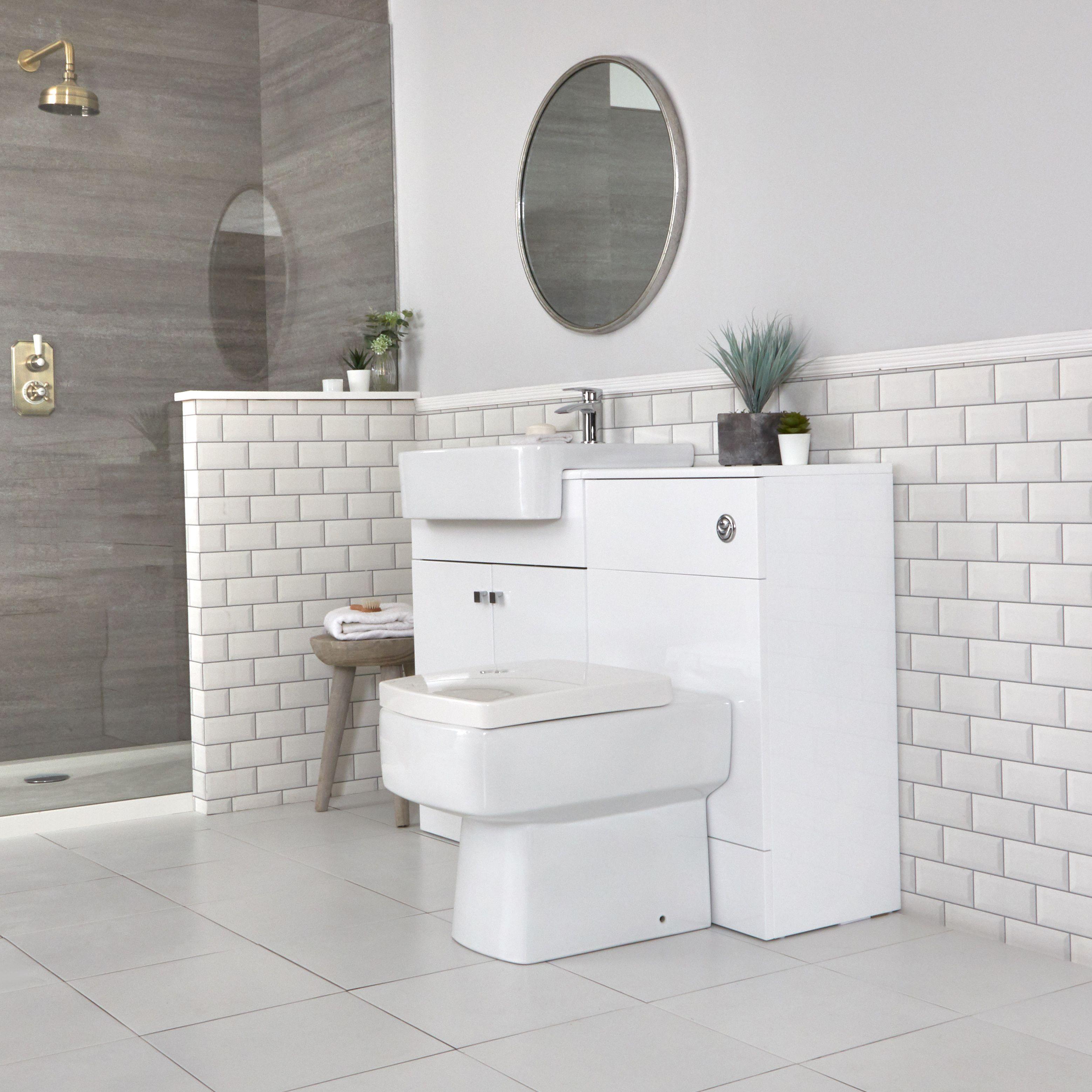 Set Bagno Moderno Da Terra Colore Bianco 1170mm Con Mobile Wc