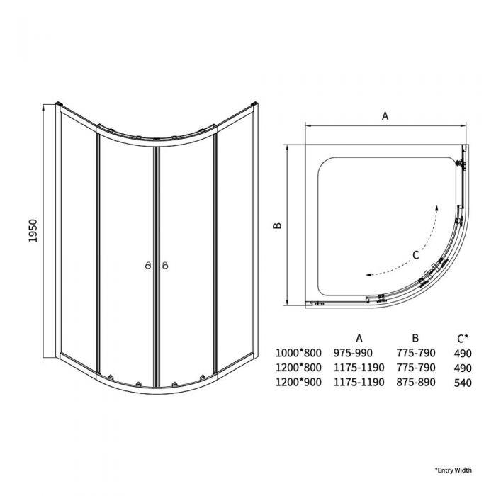 Cabina Box Doccia Angolare Semicircolare 800x1000x1950mm