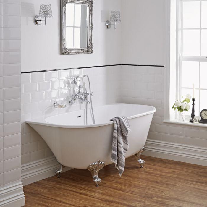 Vasca in acrilico freestanding murale centro stanza piccola 1550x750mm con piedini - Vasche da bagno con piedini ...