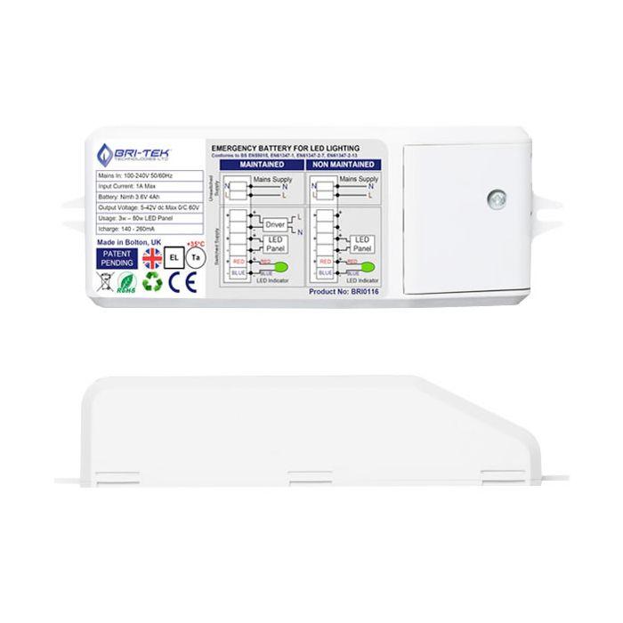 Bri-Tek Kit con Batteria di Emergenza Bri-Tek 3h per Illuminazione per Pannelli da Soffitto LED 3-80W