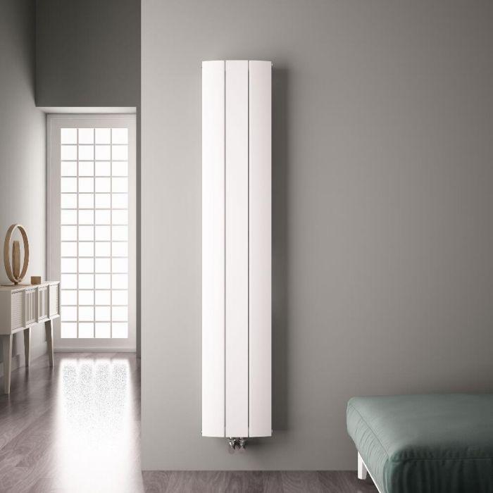 Radiatore di Design Verticale con Attacco Centrale - Alluminio - Bianco - 1800mm x 280mm x 46mm - 1152 Watt - Aurora