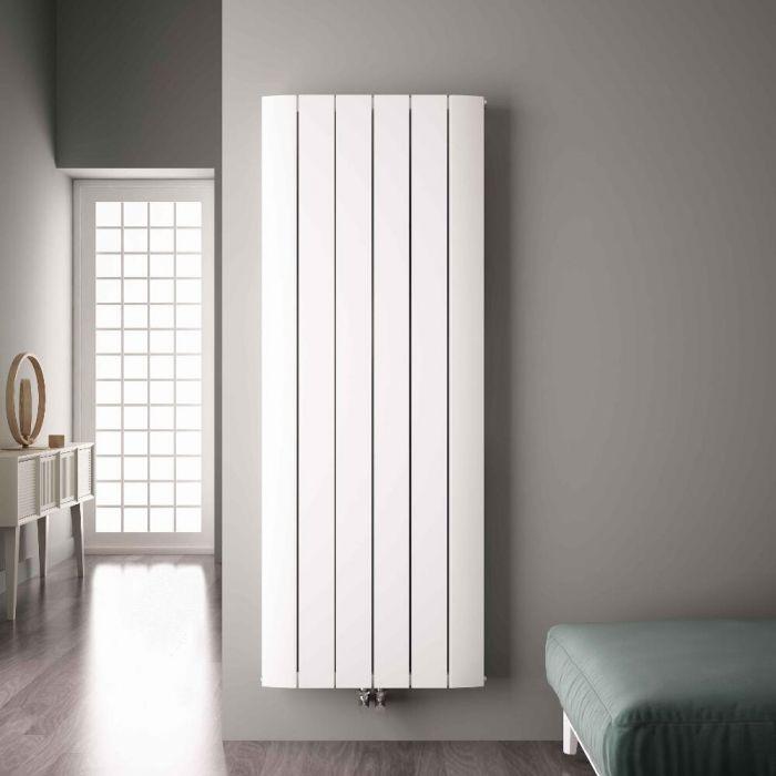 Radiatore di Design Verticale con Attacco Centrale - Alluminio - Bianco - 1800mm x 565mm x 46mm - 2303 Watt - Aurora