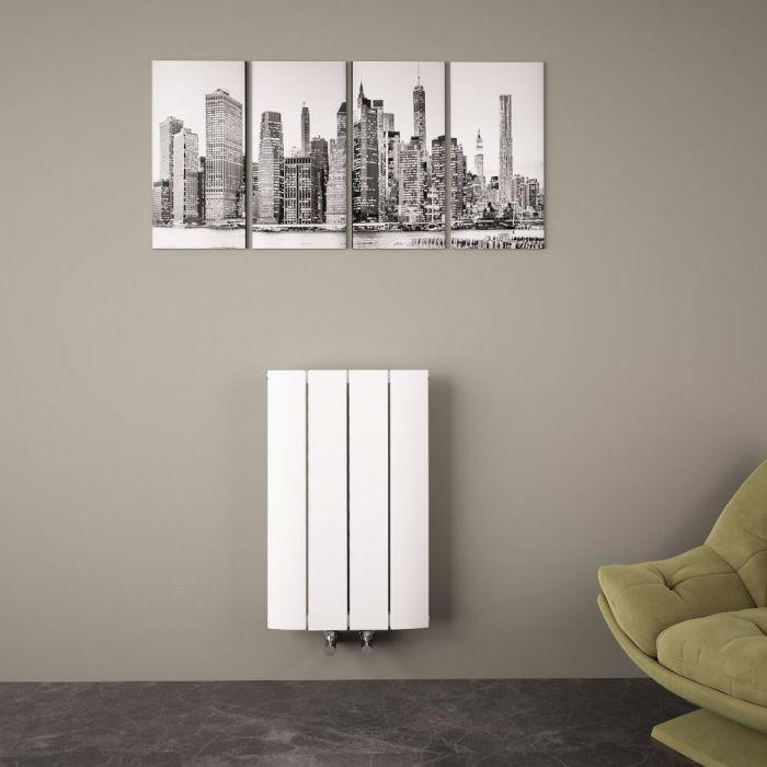 Radiatore di Design Orizzontale con Attacco Centrale - Alluminio - Bianco - 600mm x 375mm x 45mm - 512 Watt - Aurora