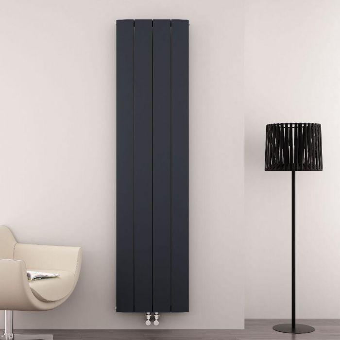 Radiatore di Design Verticale con Attacco Centrale - Alluminio - Antracite - 1800mm x 375mm x 46mm - 1535 Watt - Aurora