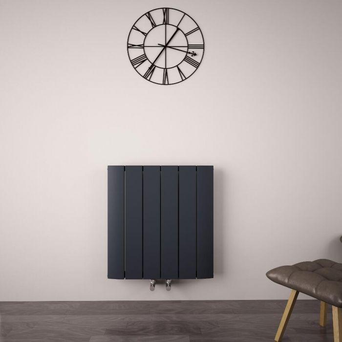 Radiatore di Design Orizzontale con Attacco Centrale - Alluminio - Antracite - 600mm x 565mm x 46mm - 768 Watt - Aurora