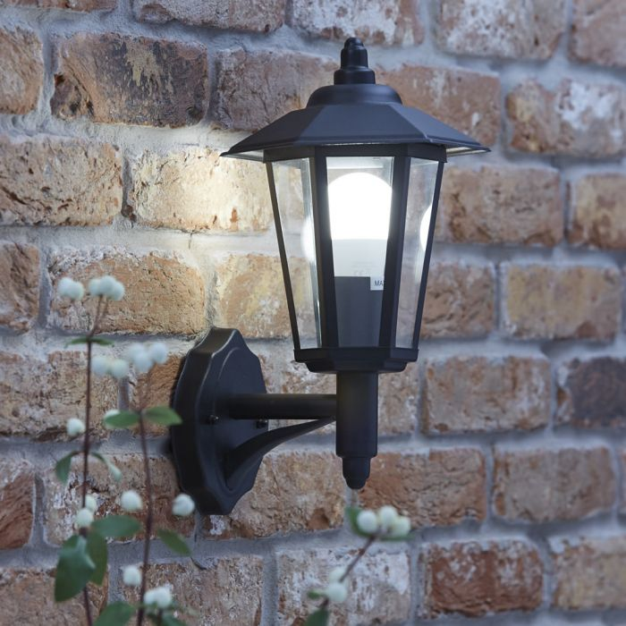 Applique da Esterno Stile Lanterna IP54 Ascendente Tradizionale Colore Nero - Cannes