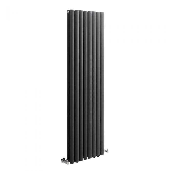 Radiatore di Design Verticale Doppio - Antracite - 1600mm x 472mm x 78mm - 1638 Watt - Revive