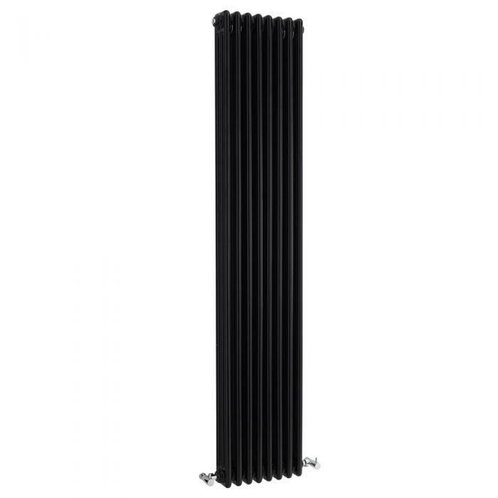 Radiatore di Design Verticale a 3 Colonne Tradizionale - Nero - 1800mm x 381mm x 100mm - 1558 Watt - Regent