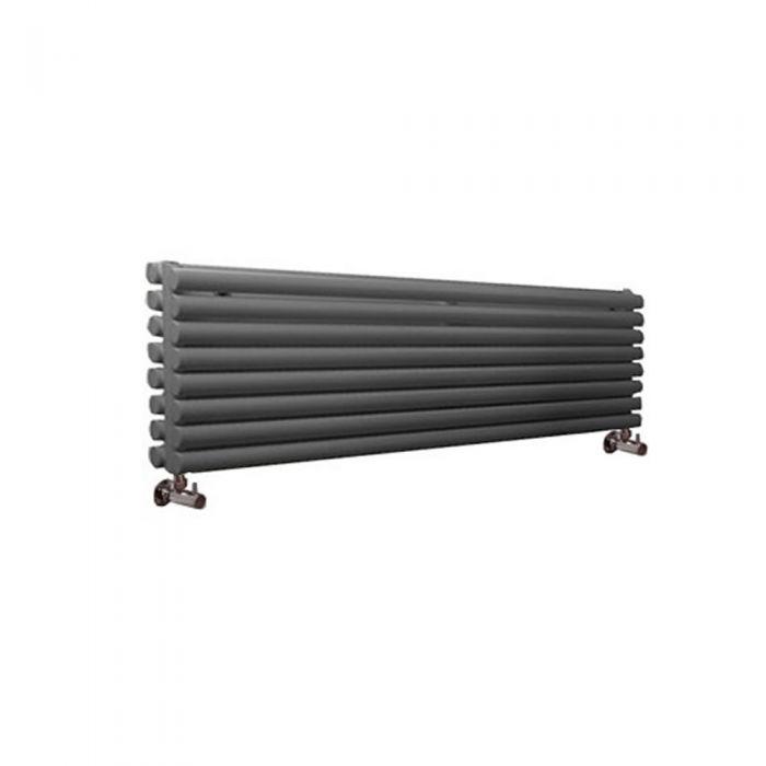 Radiatore di Design Orizzontale Doppio - Antracite - 472mm x 1780mm x 78mm - 1798 Watt - Revive