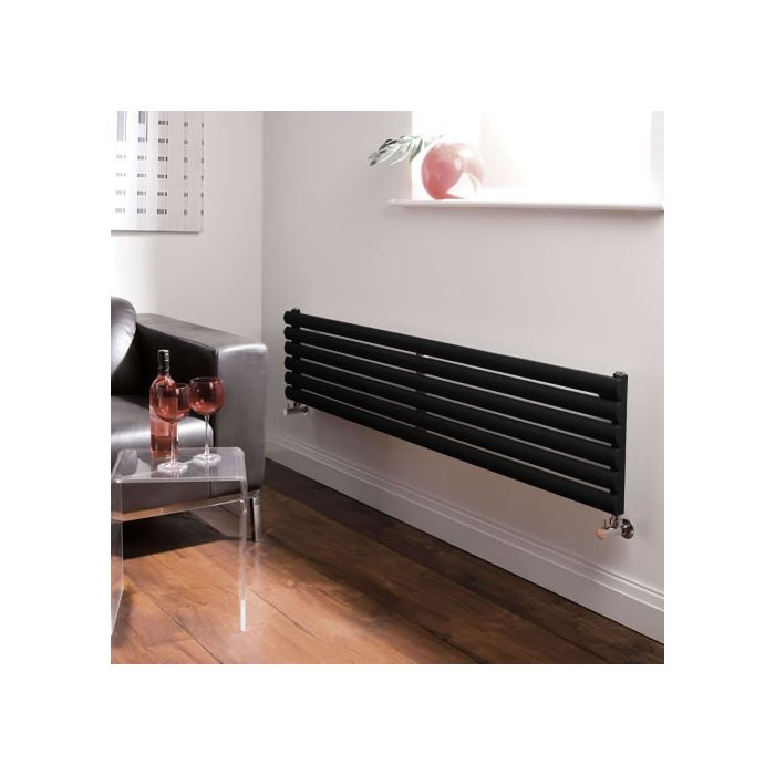 Radiatore di Design Orizzontale - Nero Lucido - 354mm x 1600mm x 56mm - 814 Watt - Revive