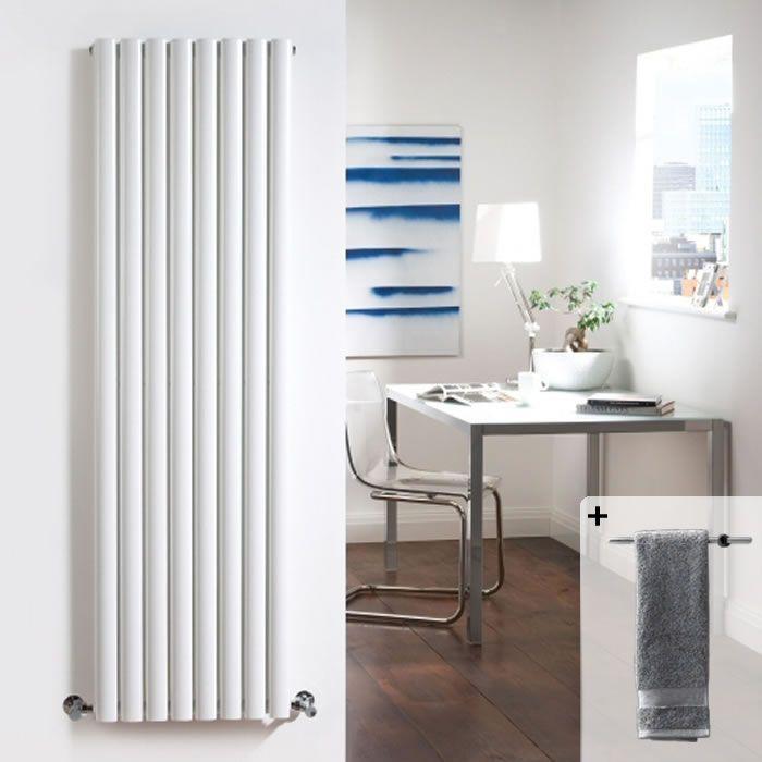 Radiatore di Design Verticale Doppio - Bianco - 1780mm x 472mm x 105mm - 1868 Watt - Revive