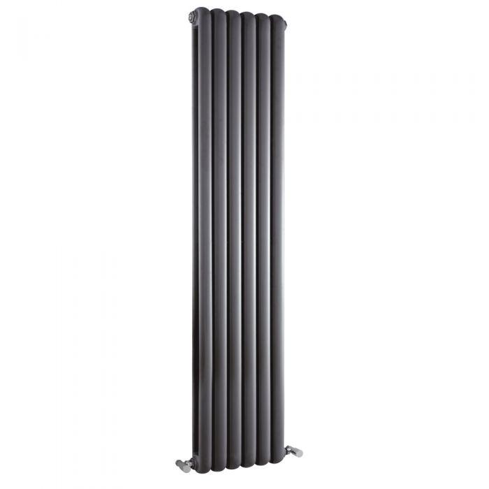 Radiatore di Design Verticale Doppio Tradizionale - Antracite - 1500mm x 383mm x 80mm - 1258 Watt - Saffre