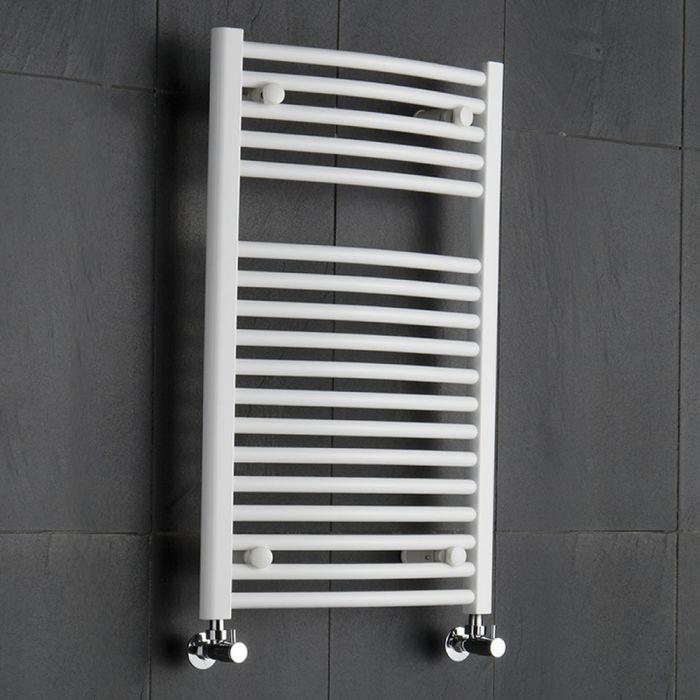 Radiatore Scaldasalviette Curvo - Bianco - 800mm x 500mm - 466 Watt - Etna