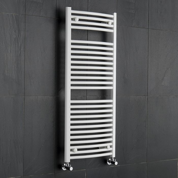 Radiatore Scaldasalviette Curvo - Bianco - 1200mm x 500mm x 30mm - 699 Watt - Etna