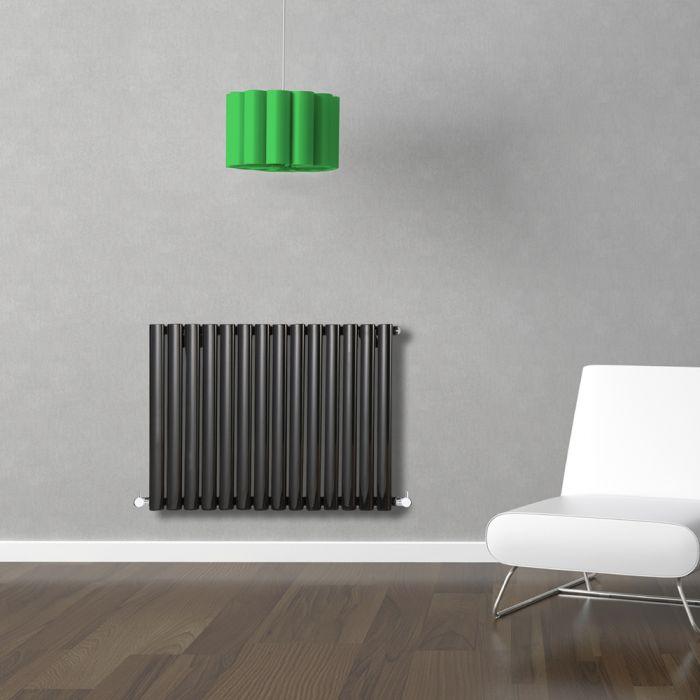 Radiatore di Design Orizzontale - Nero Lucido - 635mm x 834mm x 56mm - 836 Watt - Revive