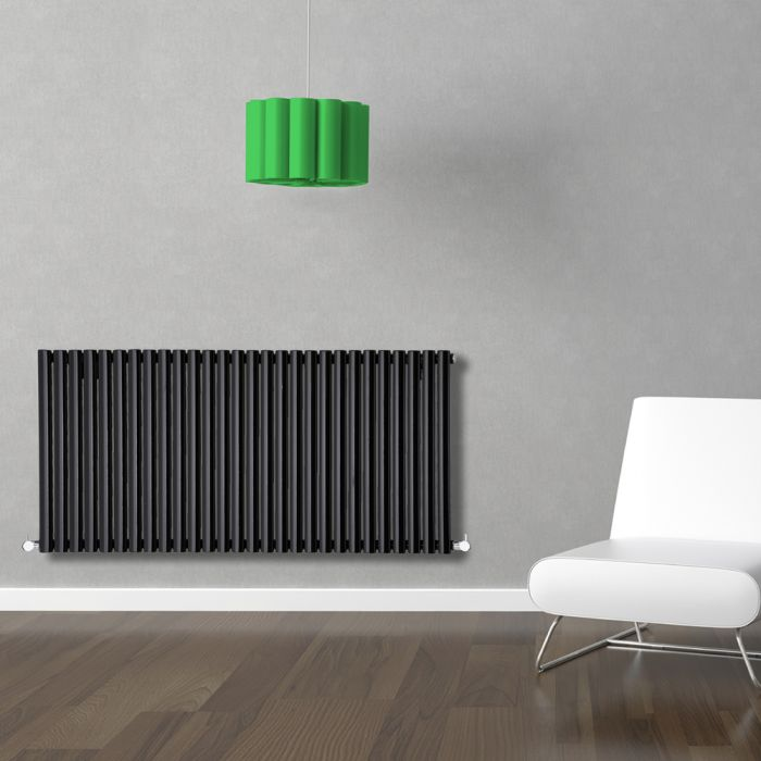 Radiatore di Design Orizzontale - Nero - 635mm x 1647mm x 56mm - 1671 Watt - Revive