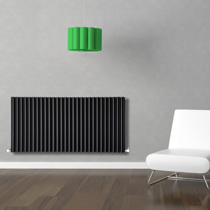 Radiatore di Design Orizzontale Doppio - Nero - 635mm x 1647mm x 78mm - 2609 Watt - Revive