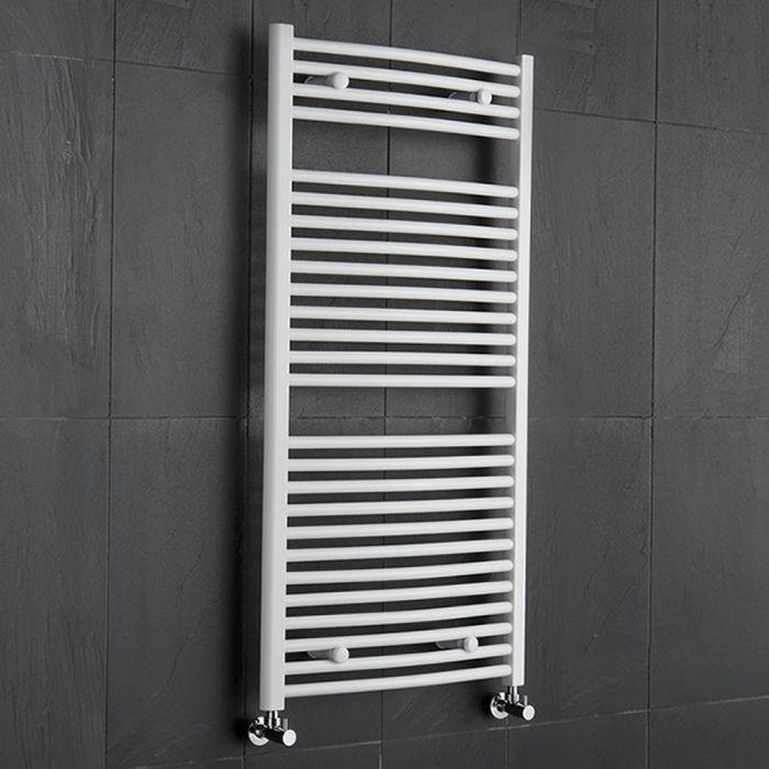 Radiatore Scaldasalviette Curvo - Bianco - 1200mm x 600mm x 52mm - 888 Watt - Etna