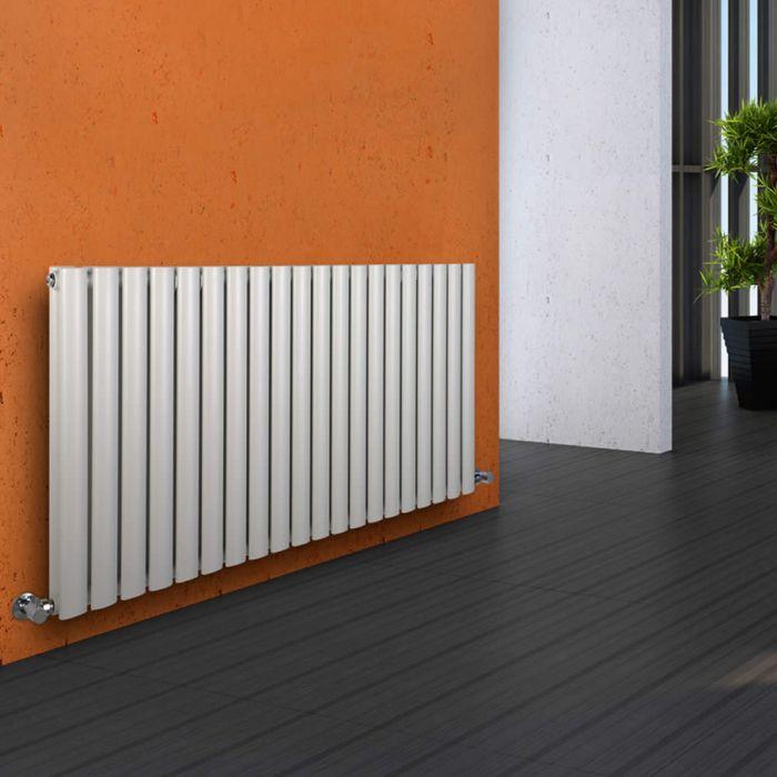 Radiatore di Design Orizzontale Doppio - Bianco - 635mm x 1180mm x 78mm - 1863 Watt - Revive